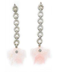 Estate Art Deco White Gold Diamond and Rose Quartz Bulldog Earrings