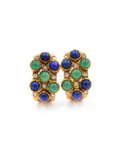 1960's Yellow Gold Diamond, Lapis and Onyx Earrings