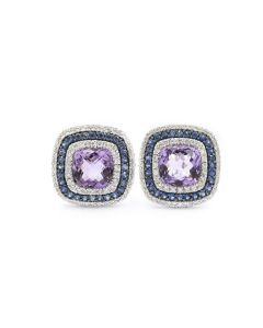 Contemporary White Gold Sapphire Amethyst and Diamond Earrings