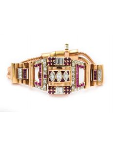Retro Hamilton Pink Gold Ruby and Diamond Wristwatch