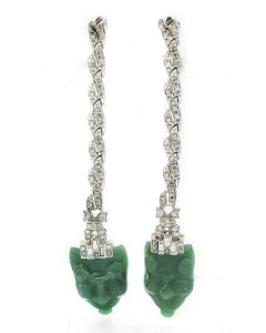 Estate White Gold Diamond and Aventurine Quartz Earrings
