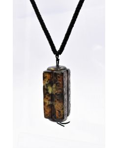 Estate Brown Agate Necklace with Black Cord