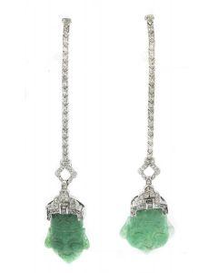 Estate Art Deco Platinum Diamond and Adverturine Quartz Earrings