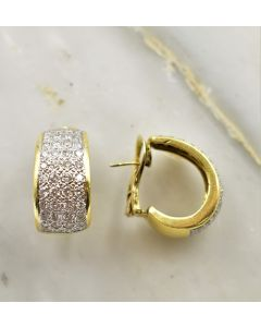 Contemporary Yellow Gold and Diamond Earrings