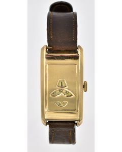 Rare Solid Gold Jump-Hour Minute & Seconds UK/Swiss Digital Wristwatch Circa 1920's