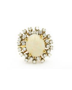 1970's Yellow Gold Diamond and Opal Ring