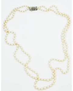 Contemporary Double Strand Pearl Necklace with White Gold Clasp