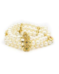 Estate Yellow Gold Diamond Gemstone and Pearl Bracelet