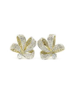 Estate Yellow Gold and Diamond Bow Earrings