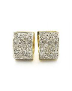 Estate Yellow Gold and Diamond Huggie Hoop Earrings