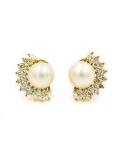 Contemporary Cartier Yellow Gold Diamond and Mabe Pearl Earrings