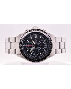 Men's Seiko Black Pilot Flight-Master Chronograph Wristwatch Ref 7T92-OCFO