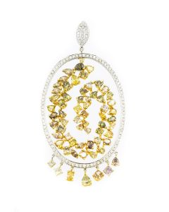Contemporary Yellow Gold and Fancy Color Diamond Pendant