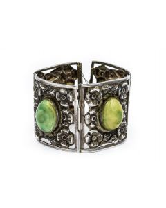 Estate 1960's Sterling Silver and Dyed Turquoise Cuff Bracelet