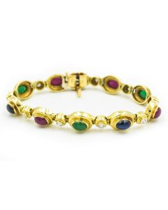 Contemporary Yellow Gold Sapphire Ruby Emerald and Diamond Bracelet