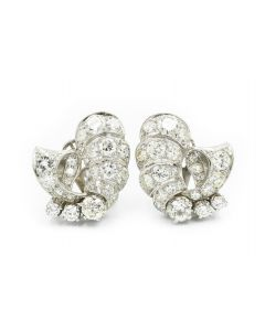 Estate 1950's Platinum and Diamond Shrimp Earrings