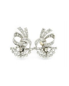 Estate 1950's Platinum and Diamond Earrings