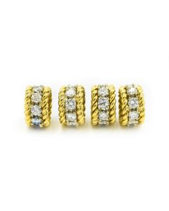 Contemporary Yellow Gold and Diamond Rondelles (4 pieces)