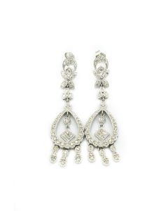 Contemporary White Gold and Diamond Drop Earrings