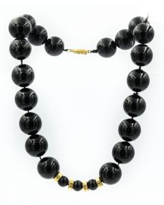 Estate 1970's Yellow Gold and Onyx Necklace