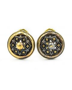 Estate Victorian Style Yellow Gold and Diamond Earrings