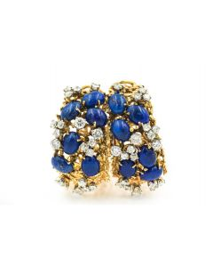 Contemporary Yellow Gold Diamond and Lapis Large Hoop Earrings