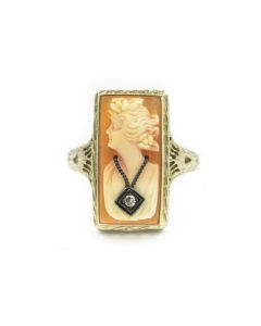 Victorian White Gold and Hardstone Cameo Ring
