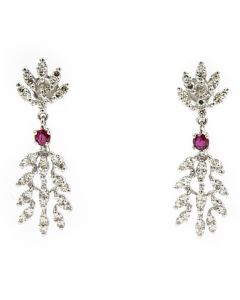 Contemporary White Gold Diamond and Ruby Earrings