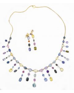 Estate 1970's Yellow Gold and Gemstone Earring and Necklace Suite