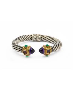 David Yurman Contemporary Sterling Silver Yellow Gold and Gemstone Cable Bracelet