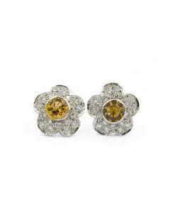 Contemporary Platinum Diamond and Topaz Flower Earrings