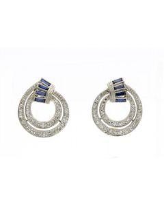 Art Deco Platinum Diamond and Sapphire Earrings