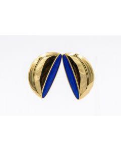 Rare Contemporary 18K Vhernier Eclisse Lapis Lazuli Gold Earrings