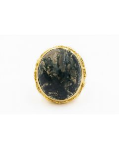 Estate 1960's Yellow Gold and Moss Agate Large Bishops Ring