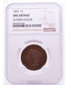 1853 1C UNC DETAILS Altered Color NGC 4674392-005