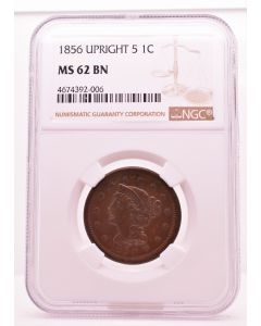 1856 UPRIGHT 5 1C MS 62 BN NGC 4674392-006