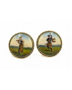 Estate Yellow Gold Large Engine Turned Portrait Cufflinks