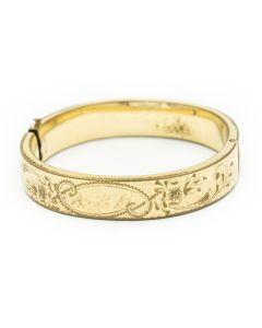Victorian Gold Filled Engraved Wide Bangle Bracelet