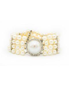 Estate 1950s White Gold Diamond and Pearl 4 Strand Bracelet