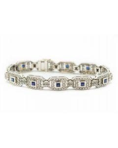 Estate Contemporary White Gold Diamond and Sapphire Bracelet