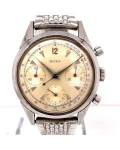 MK Personal Collection Rare Steel Triple Register Doxa Daytona Valjoux 72 Wristwatch Circa 1960's