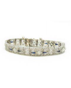 Estate Art Deco White Gold Diamond and Sapphire Bracelet