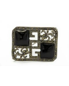 Estate Marcasite and Onyx Brooch