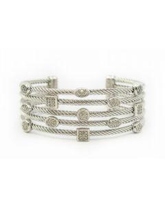 David Yurman Contemporary Sterling Silver and Diamond Bangle Bracelet