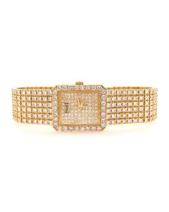 Ladies 18k Gold and Diamond Piaget Wristwatch Model 4154N with Box and Papers 12.00cts