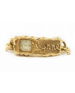"Arthur King Yellow Gold Nugget Watch Bracelet ""Lynne"""