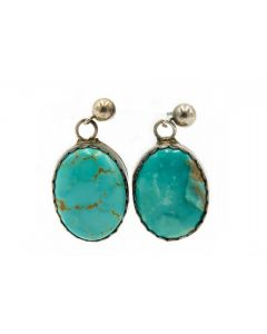 Estate Native American Sterling Silver and Turquoise Earrings