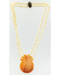 Estate Bead Necklace with White Beads and Banded Agate Pendant