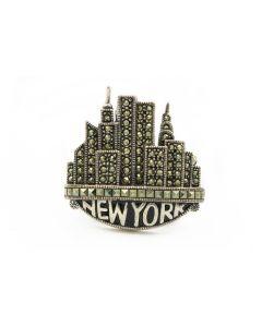 Estate Judith Jack Sterling Silver New York Skyline Brooch