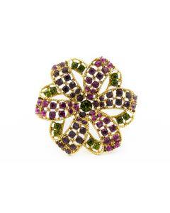 Estate Rhinestone Costume Flower Brooch by Graziano